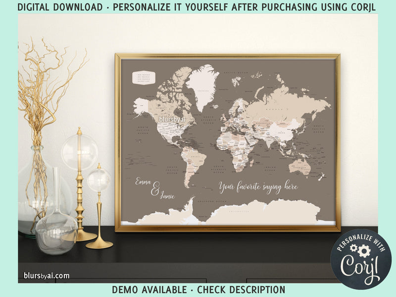 "20x16"" Personalized PRINTABLE world map with countries, states and country capitals, ""Earth tones"", edit-it-yourself using CORJL - Instant download for PERSONAL USE"