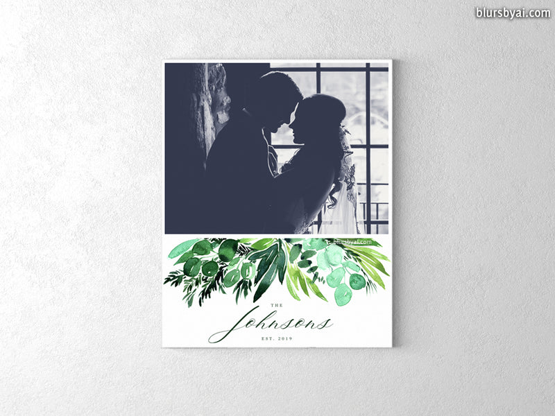 "Custom family name and picture canvas print, ""Inma watercolor greenery"""