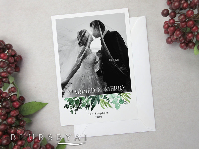 Personalized printable Christmas photo card: watercolor greenery bouquet - Edit with Corjl