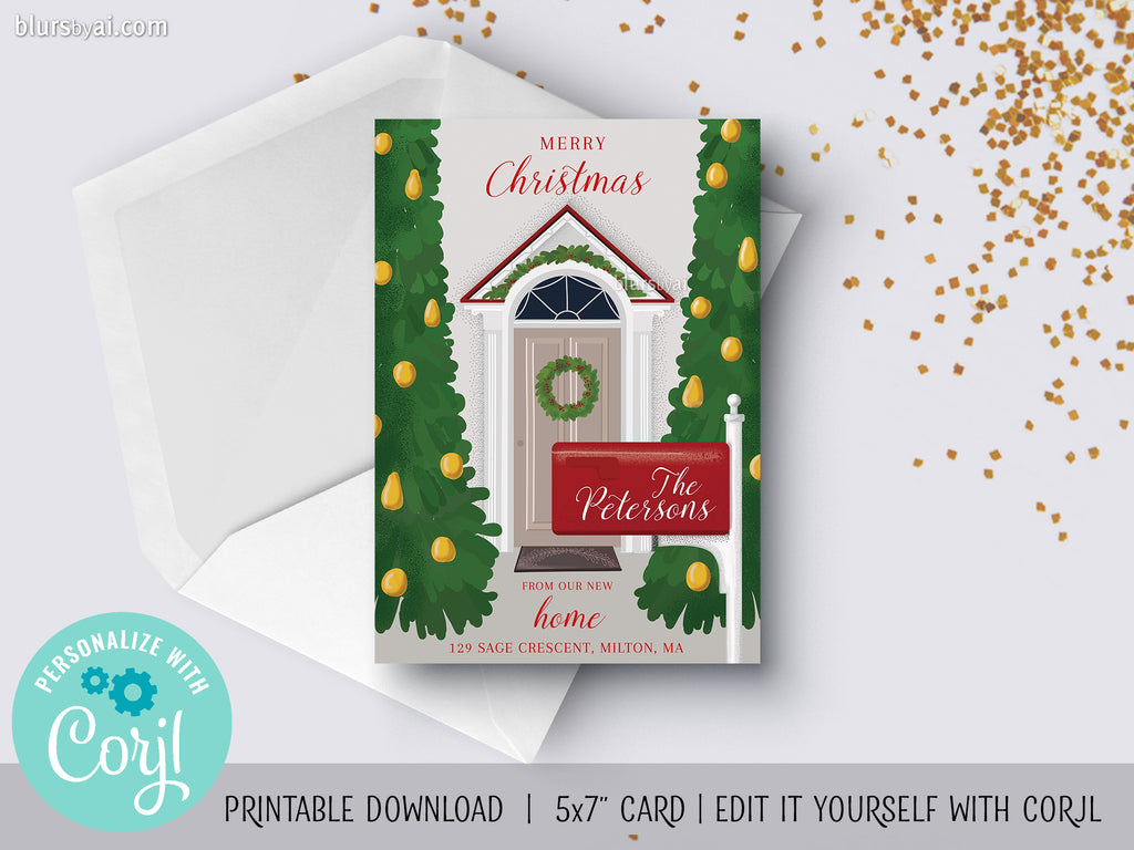 Personalized printable Christmas card: new home front door and mailbox - Edit with Corjl