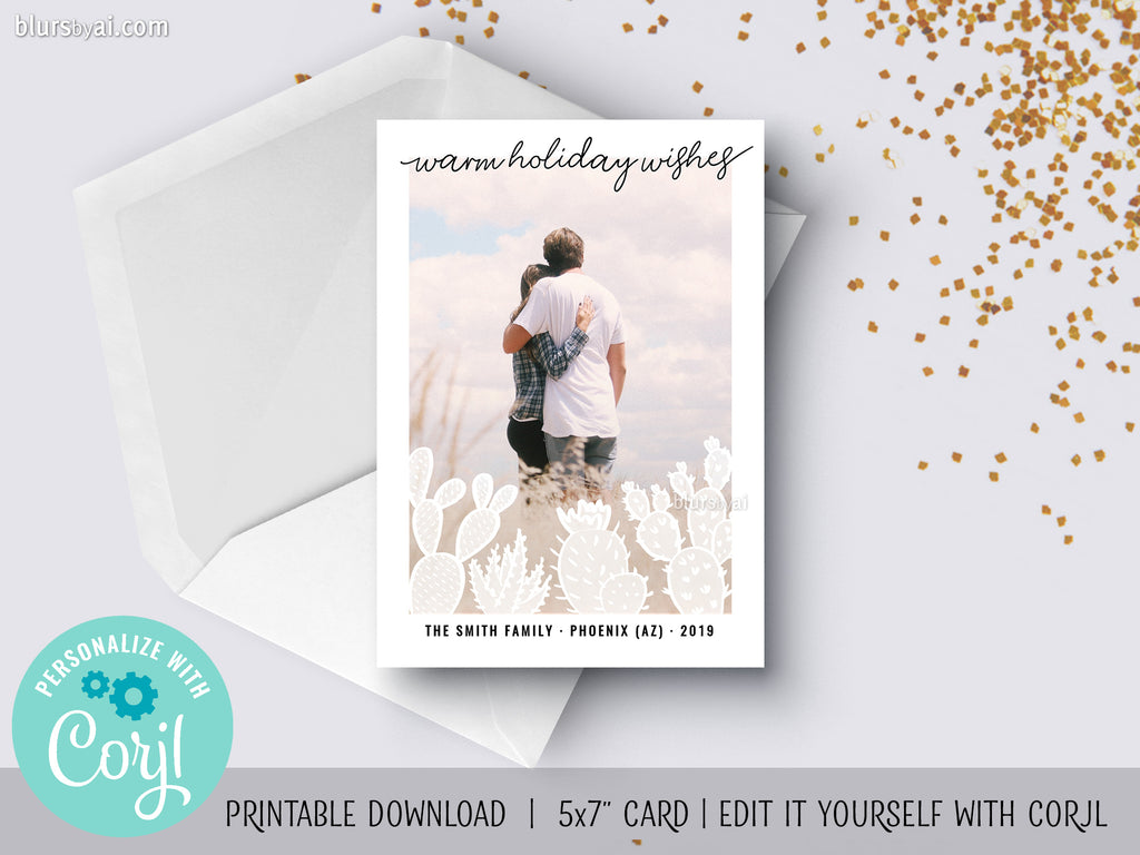 Personalized printable Christmas photo card: cacti silhouette overlay - Edit with Corjl