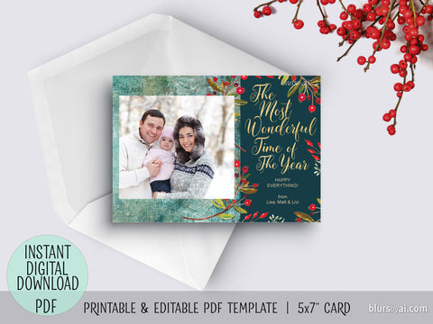 Editable pdf Christmas photo card template: The most wonderful time of the year, green