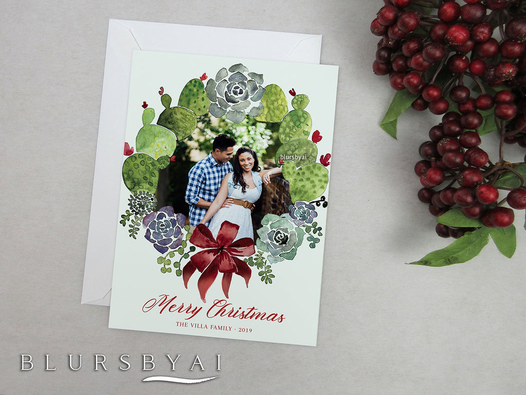 Personalized printable Christmas photo card: watercolor cacti wreath - Edit with Corjl