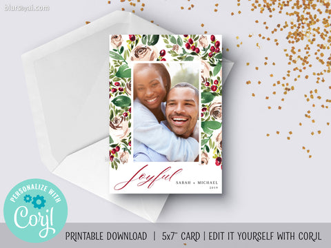 Personalized printable Christmas photo card: watercolor roses & berries - Edit with Corjl