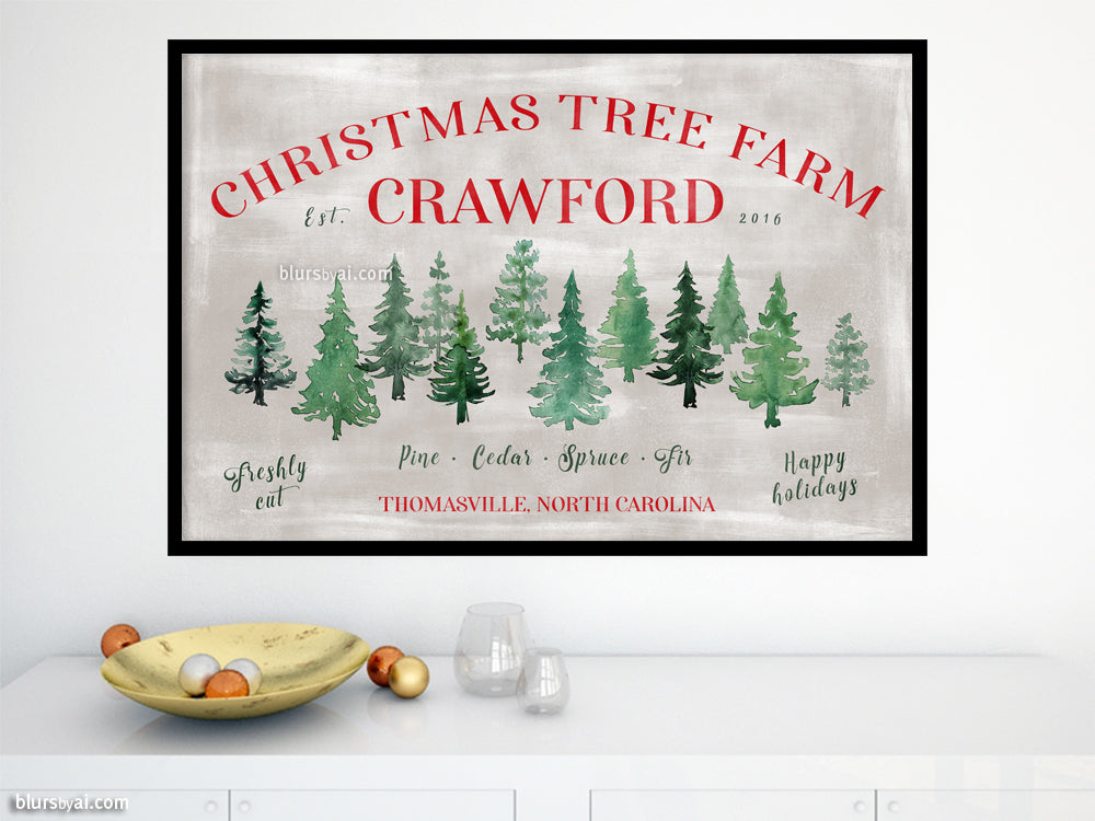 Custom family name art print - Rustic Christmas tree farm print with custom family name
