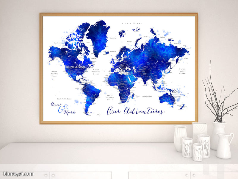 "Custom map print: watercolor world map with cities in navy blue and cobalt blue. ""Carlynn"""