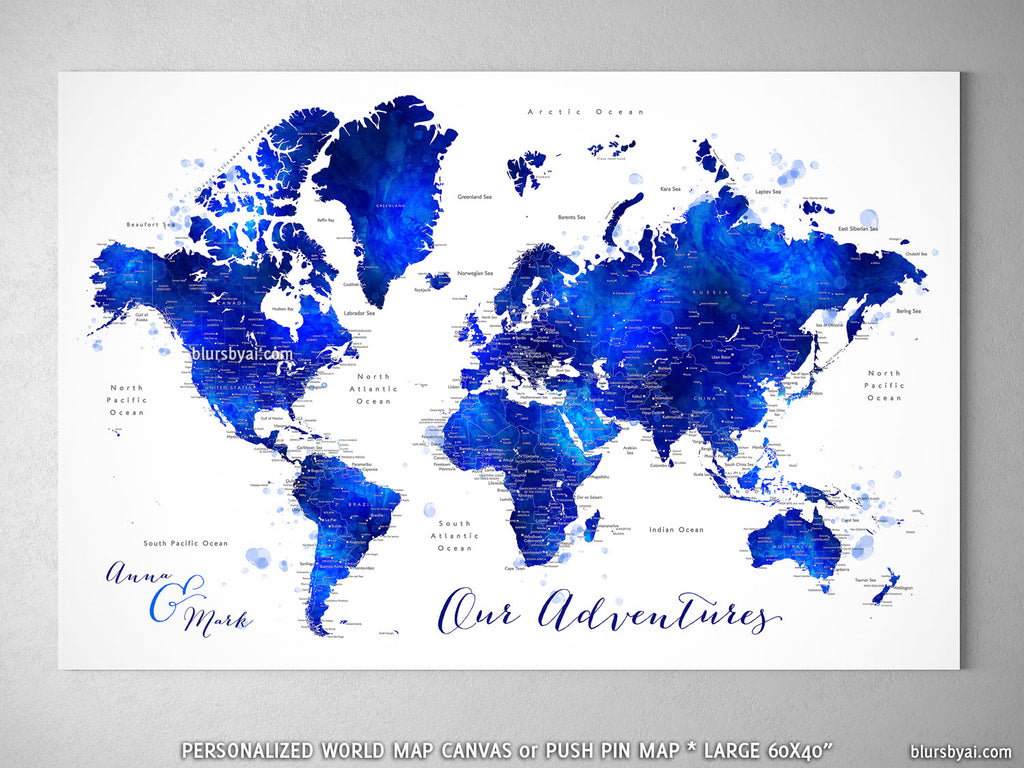Custom World Map With Cities Canvas Print Or Push Pin Map In Navy