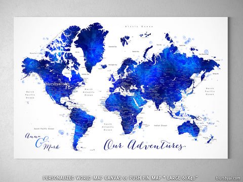 "Custom world map with cities, canvas print or push pin map in navy blue and cobalt blue watercolor. ""Carlynn"""
