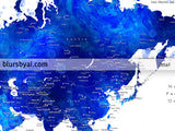 "Personalized map print: watercolor world map with cities in navy blue and cobalt blue. ""Carlynn"""