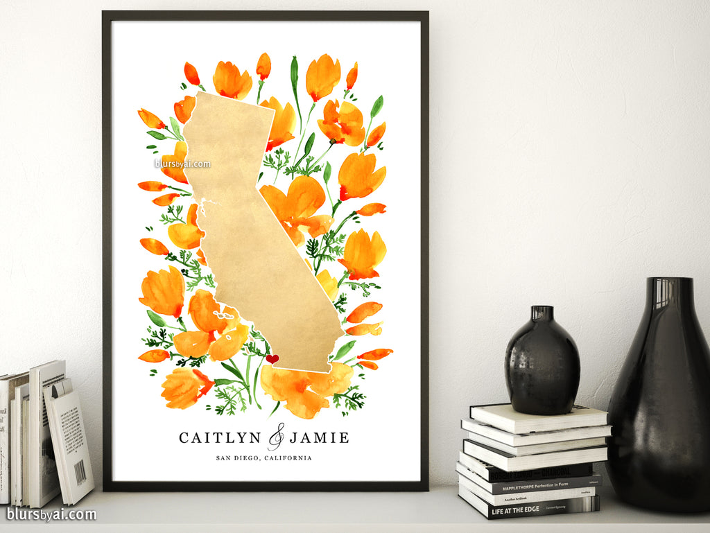 Custom map print: map of California with California poppies