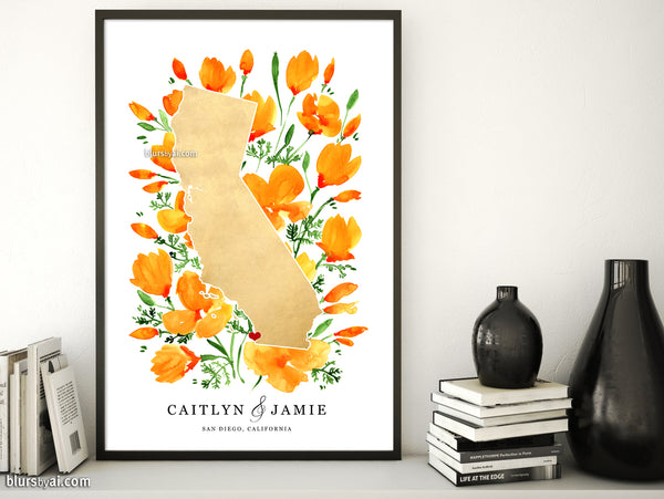 Personalized map print: map of California with California poppies