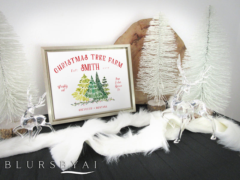 "Custom family name canvas print, ""Christmas tree farm"" with watercolor trees"