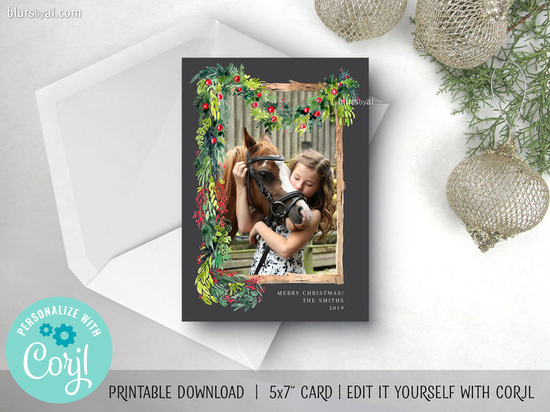 Personalized printable Christmas photo card: watercolor garland and frame - Edit with Corjl