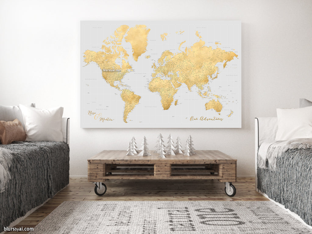 "Custom large & highly detailed world map canvas print or push pin map in gold and light grey. ""Everly"""