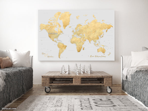 "Personalized large & highly detailed world map canvas print or push pin map in gold and light grey. ""Everly"""