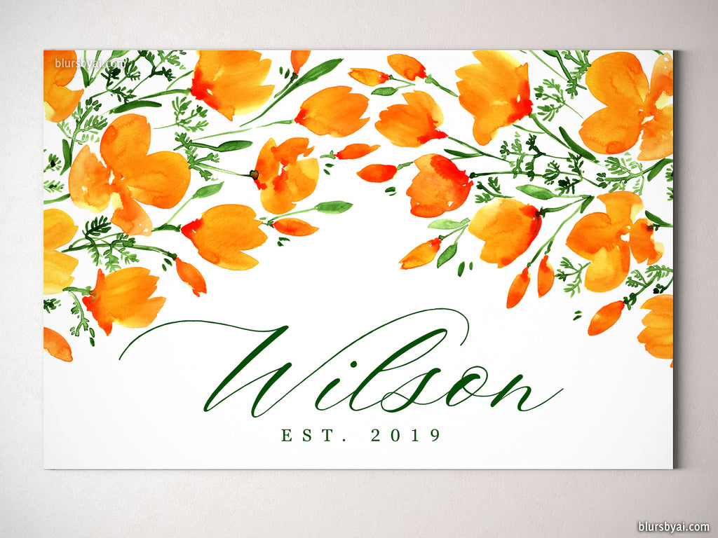 "Custom family name canvas print, ""Watercolor California poppies"""
