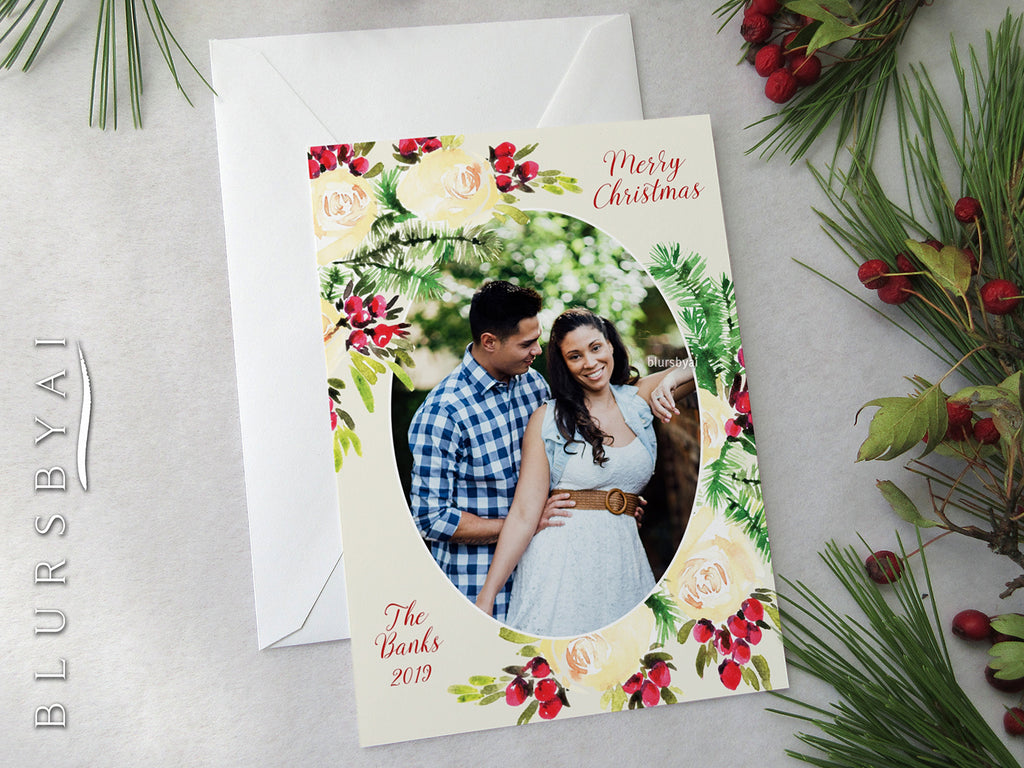 Personalized printable Christmas photo card: soft yellow watercolor roses & berries - Edit with Corjl