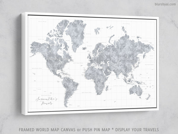 Framed World Map With Push Pins Custom large & highly detailed world map canvas print or push pin