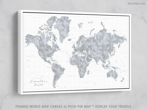 "Personalized large & highly detailed world map canvas print or push pin map, grayscale watercolor. ""Jimmy"""