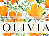 Custom name art with watercolor California poppies