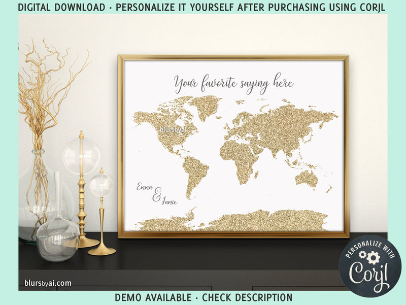 Personalized PRINTABLE world map in gold glitter, edit-it-yourself using CORJL - Instant download for PERSONAL USE