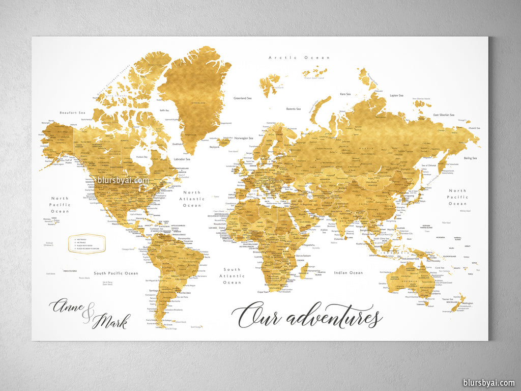 "Custom world map with cities, canvas print or push pin map in shades of gold. ""Rossie"""