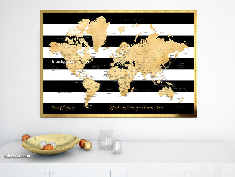 Custom quote printable world map with cities, capitals, countries, US States... labeled. Color combination: Harper
