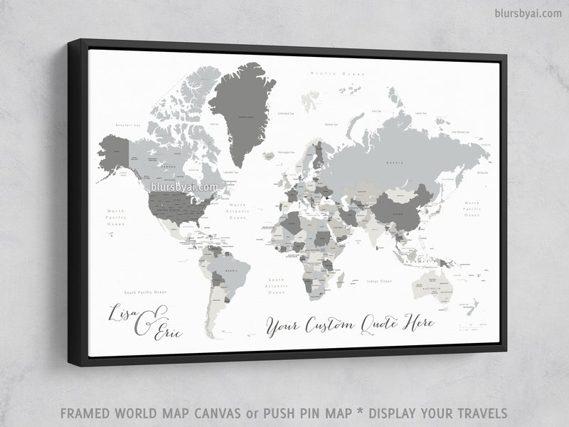 "Custom world map with countries & states, canvas print or push pin map. ""Concrete hues"""
