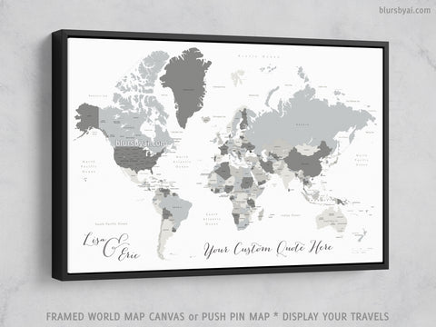 "Personalized world map with countries & states, canvas print or push pin map. ""Concrete hues"""