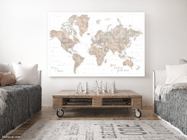 "REHECHO PORQUE NO TENIA 48X32 Custom large & highly detailed watercolor world map canvas print or push pin map. ""Abey"""