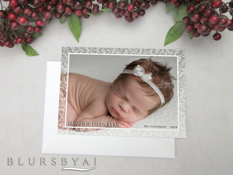 Personalized printable Christmas photo card: baby announcement with scandinavian floral frame overlay - Edit with Corjl