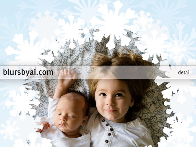 Personalized printable Christmas photo card: festive snowflakes wreath - Edit with Corjl