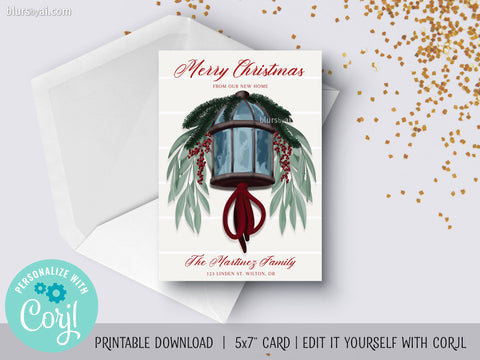 Personalized printable Christmas card: new home anouncement with lantern - Edit with Corjl