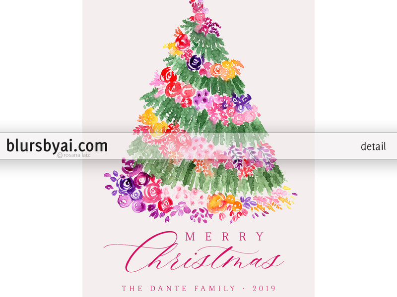 Custom printable Holiday photo card: floral Christmas tree in watercolor