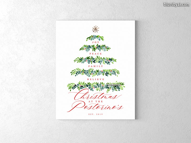 "Custom family name canvas print, ""watercolor greenery Christmas tree"""