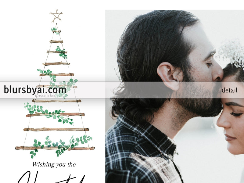 Personalized printable Christmas photo card: branches tree - Edit with Corjl