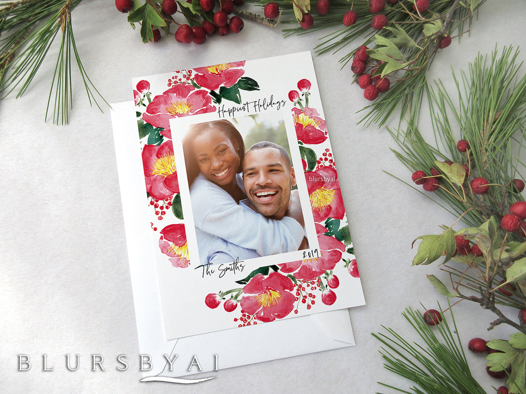 Custom printable Holiday photo card with watercolor camellias