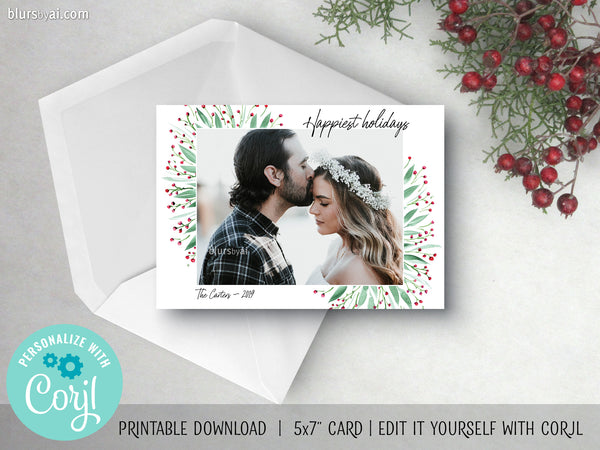Personalized printable Christmas photo card: green leaves and red berries - Edit with Corjl
