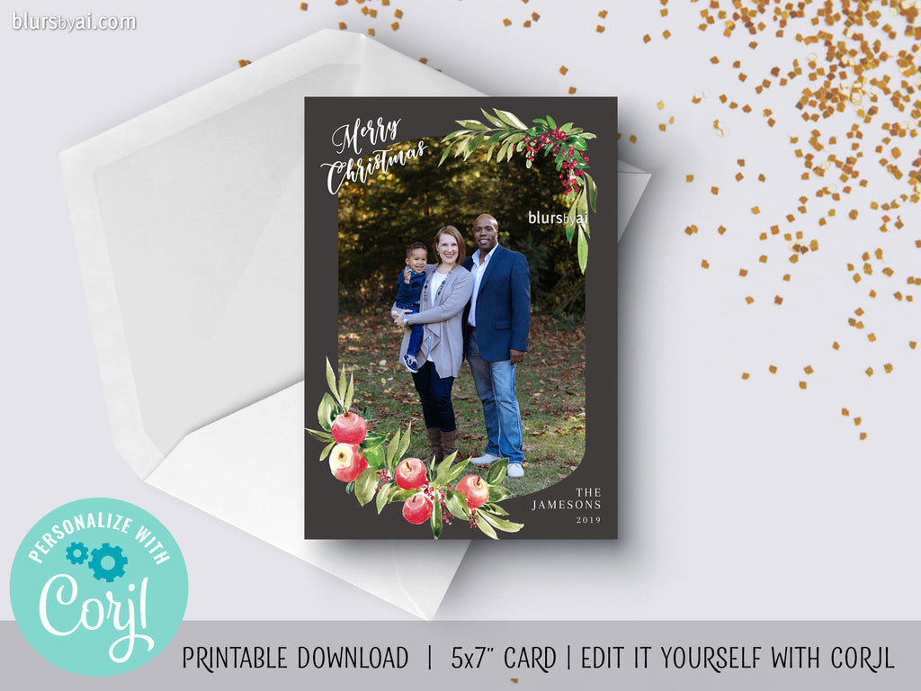 Personalized printable Christmas photo card: watercolor apples and flowers - Edit with Corjl