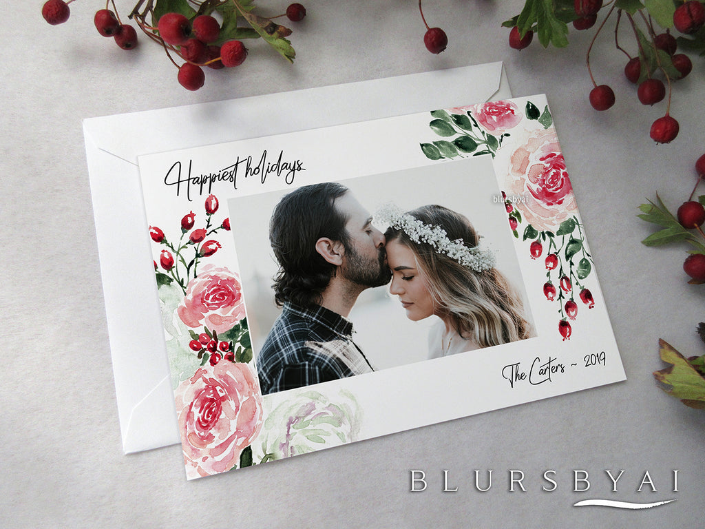 Personalized printable Christmas photo card: watercolor pink roses & berries - Edit with Corjl