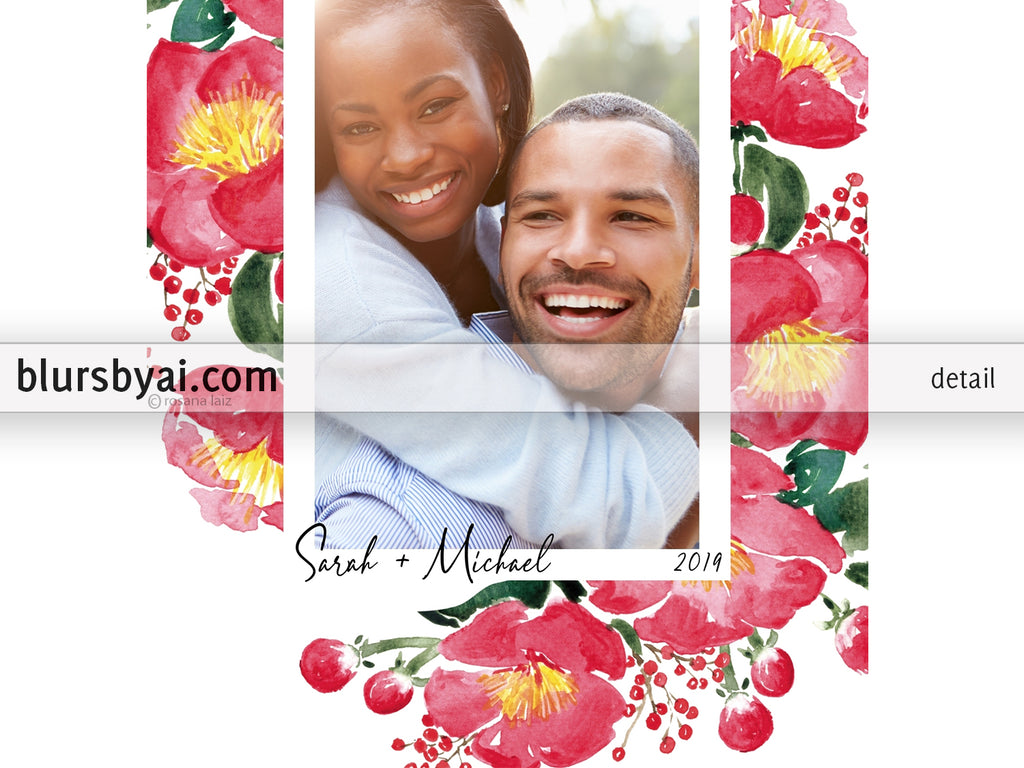 Personalized printable Christmas photo card: watercolor camellias - Edit with Corjl