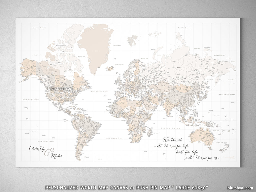 Custom large & highly detailed world map canvas print or push pin map,  light brown, \
