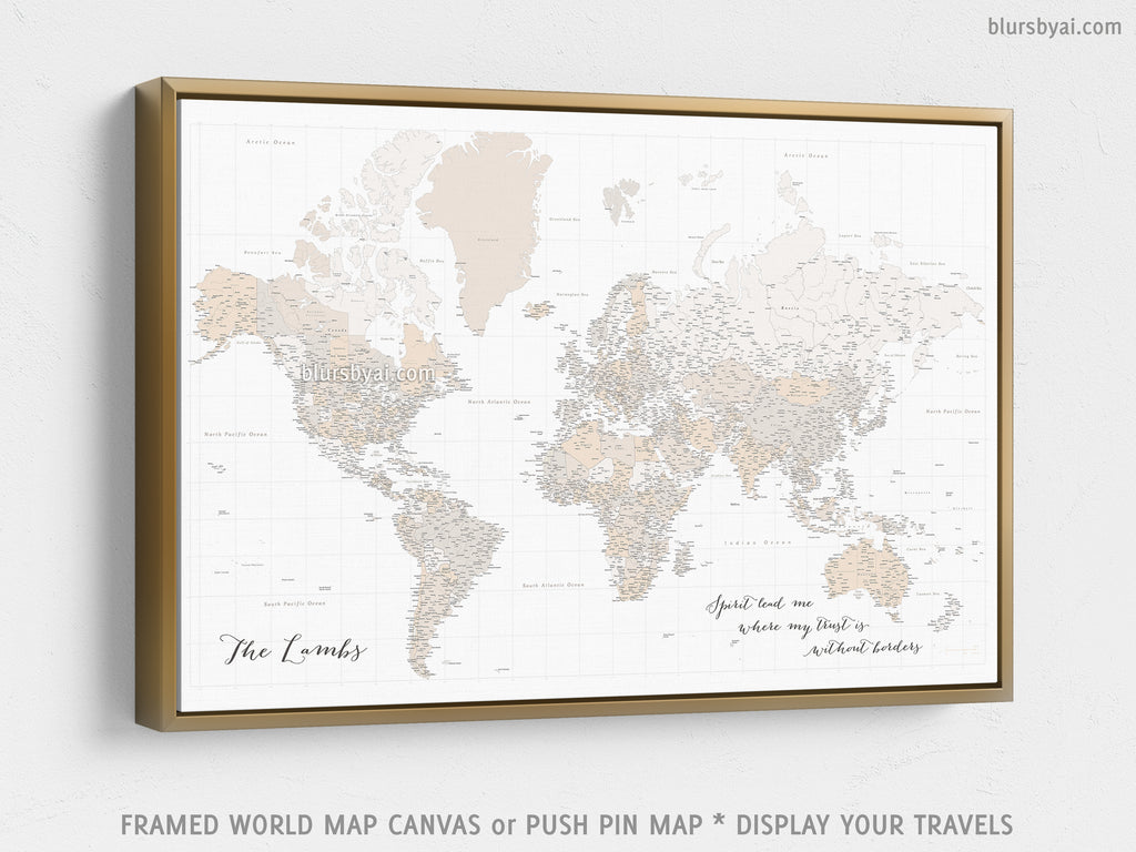 Where To Buy Large World Map.Custom Large Highly Detailed World Map Canvas Print Or Push Pin