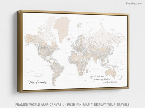 "Custom large & highly detailed world map canvas print or push pin map, light brown, ""Belinda"""