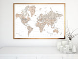"Personalized world map print - highly detailed map with cities in neutral watercolor. ""Abey"""