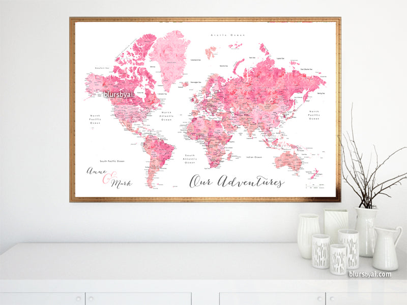 "Custom map print: world map with cities in pink watercolor. ""Azalea"""