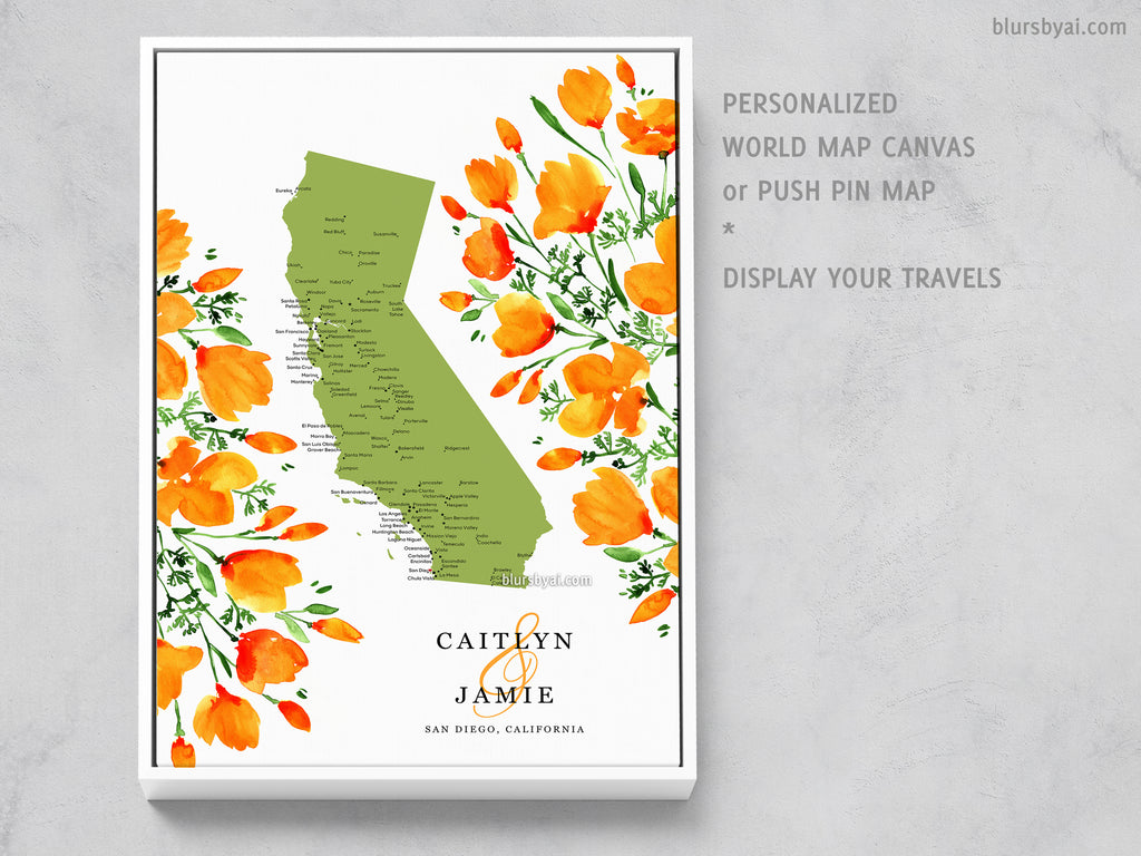 Unique wedding guestbook: Custom map of California with cities and California poppies, canvas print or push pin map