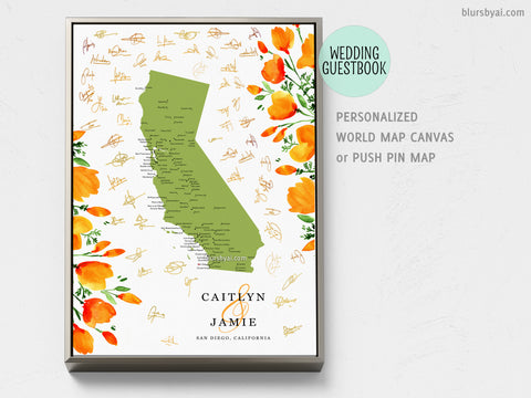 Unique wedding guestbook: Personalized map of California with cities and California poppies, canvas print or push pin map
