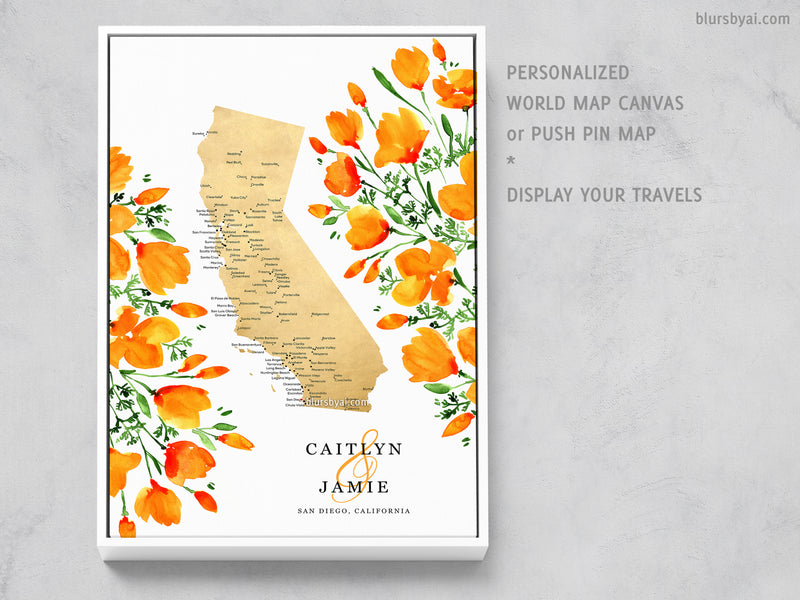 Custom map of California with cities and California poppies, canvas print or push pin map