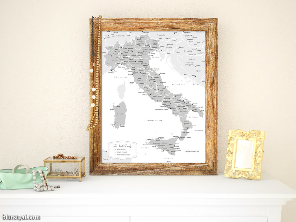 Custom map print of Italy with cities, in grayscale